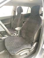 Накидки (комплект 2 штуки) на передние сиденья велюр черные с синей нитью РОМБ