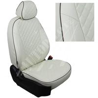 Авточехлы на сидения для Citroen Jumper - белые РОМБ