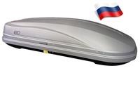 """Автомобильный бокс Евродеталь Магнум 390 NEW (185*84*42) серый, тиснение """"карбон"""""""