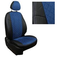 Авточехлы на сидения для Citroen С-4 Hb 3-х дв. с 04-11г. - черный+альк.синяя РОМБ