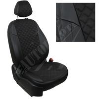 Авточехлы на сидения для Peugeot Partner Tepee / Citroen Berlingo II (2 места) с 08г. - черн+альк. черная РОМБ