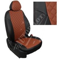 Авточехлы на сидения для Peugeot Partner Tepee / Citroen Berlingo II (2 места) с 08г. - черный+коричневый РОМБ