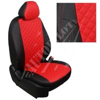 Авточехлы на сидения для Lada Largus (2 места) - черный+красный РОМБ