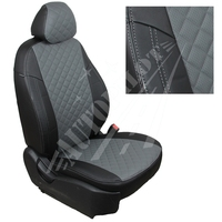 Авточехлы на сидения для Fiat Dukato 3 места с 06г./Peugeot Boxer/Citroen Jumper - черный+серый РОМБ