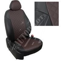 Авточехлы на сидения для Peugeot Partner Original / Citroen Berlingo I (2 места) с 96-12г. - черный+шоколад РОМБ