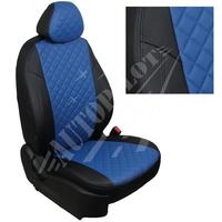 Авточехлы на сидения для Peugeot Partner Tepee / Citroen Berlingo II (2 места) с 08г. - черный+синий РОМБ