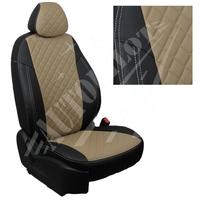 Авточехлы на сидения для Citroen Jumper  - черный+темно бежевый РОМБ