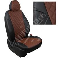Авточехлы на сидения для Kia Cerato II Coupe 2-х дв. c 09-13г.  - черный+темно коричневый РОМБ