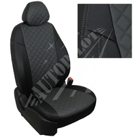 Авточехлы на сидения для Ford Tourneo I (2 места) с 03-13г.  - черный+темно серый РОМБ