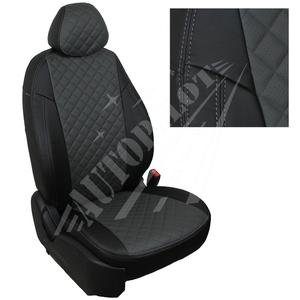 Авточехлы на сидения для Mazda CX-5 (три отд. кресла) Touring, Active с 11-17г. - черный+темно серый РОМБ