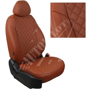 Авточехлы на сидения для Hyundai Tucson I c 04-10г./ Kia Sportage II c 04-08г. - коричневый РОМБ