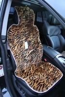 Меховая накидка Автопилот на переднее сиденье из натурального меха, окрас Тигр. Оранжевая с черным.