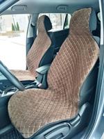 Накидки (комплект 2 штуки) на передние сиденья велюр коричневые РОМБ