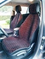 Накидки (комплект 2 штуки) на передние сиденья велюр черные с красной нитью РОМБ