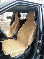 Накидки (комплект 2 штуки) на передние сиденья С БОКАМИ велюр бежевые РОМБ