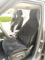 Накидки (комплект 2 штуки) на передние сиденья велюр черные ПОЛОСКА