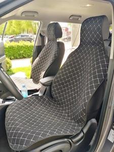 Накидки (комплект 2 штуки) на передние сиденья ЛЕН черные с белой нитью РОМБ