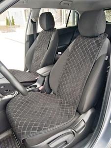 Накидки (комплект 2 штуки) на передние сиденья Гитара алькантара черная с бежевой нитью РОМБ