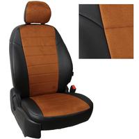 Авточехлы на сидения для Lada Largus (2 места) - черный+альк.коричневая