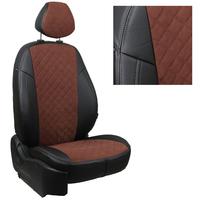 Авточехлы на сидения для Mazda CX-5 (три отд. кресла) Touring, Active с 11-17г. - черный+альк.шоколад РОМБ
