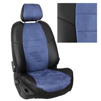 Авточехлы на сидения для Lada Largus (2 места) - черный+альк.синяя