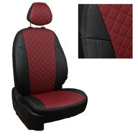 Авточехлы на сидения для Hyundai Porter I (3 места) - черный+бордовый РОМБ