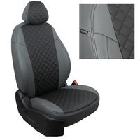 Авточехлы на сидения для Hyundai Porter I (3 места) - серый+черный РОМБ
