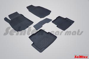 Резиновый коврик Seintex с бортиком для Chevrolet AVEO II 2011-