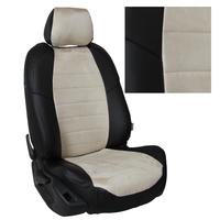Авточехлы на сидения для Lada Largus (2 места) - черный+альк.бежевая