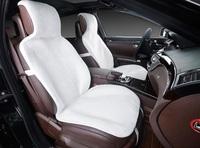 Меховая накидка на переднее сиденье, искусственный мех. Белая