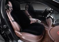 Меховая накидка на переднее сиденье, искусственный мех. Черная